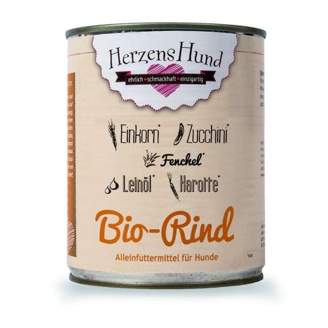 Herzens Hund Bœuf biologique + Einkorn + Légumes pour Chien 800 g