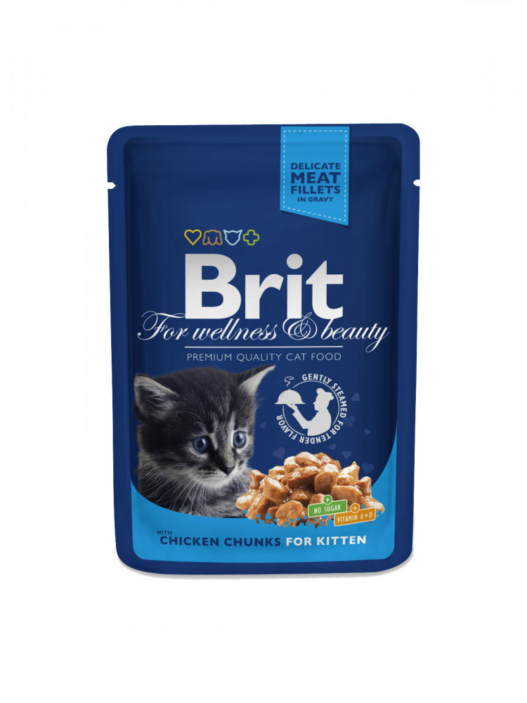 Brit Premium Cat Pouches Chicken Chunks for Kitten 100 g köp billiga på nätet