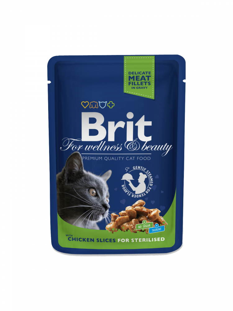Premium Cat Pouches Chicken Slices for Sterilised by Brit 100 g buy online