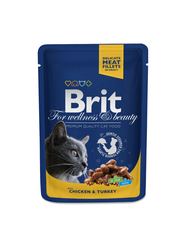 Brit Premium Cat Pouches with Chicken & Turkey 100 g buy online