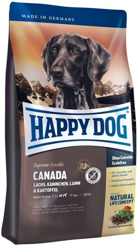 Happy Dog Supreme Sensible Canada mit Lachs, Kaninchen, Lamm & Kartoffel 1 kg