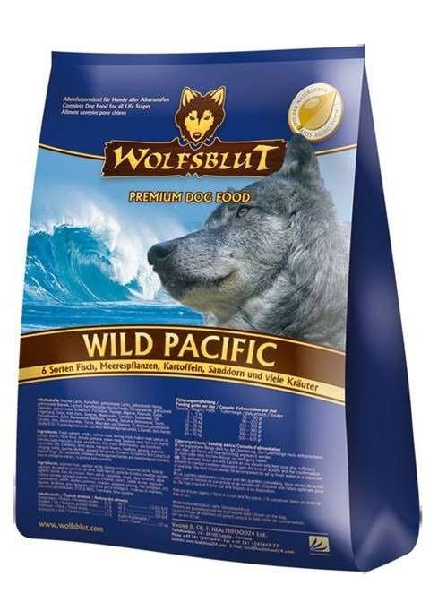 Wild Pacific, 6 sorts of Fish, Sea Algae, Potatoes, Sea Buckthorn and Herbs from Wolfsblut 15 kg, 2 kg, 500 g buy online