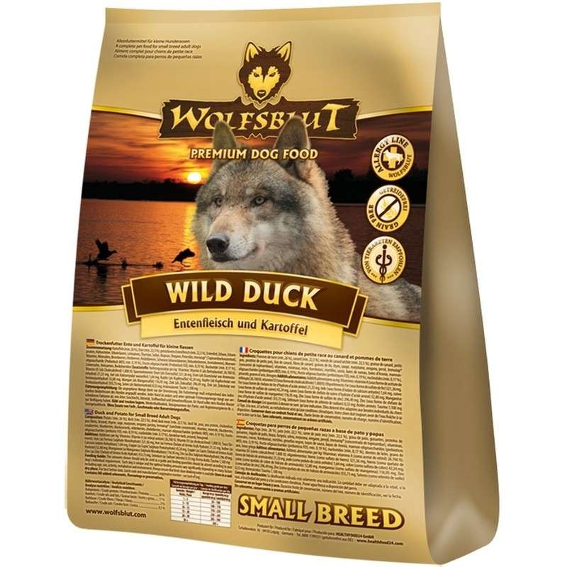 Wild Duck Small Breed duck with potatoes from Wolfsblut 7.50 kg, 500 g, 2 kg, 15 kg buy online