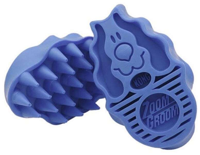 KONG ZoomGroom - Cepillo de Baño para Perros Azul lavanda