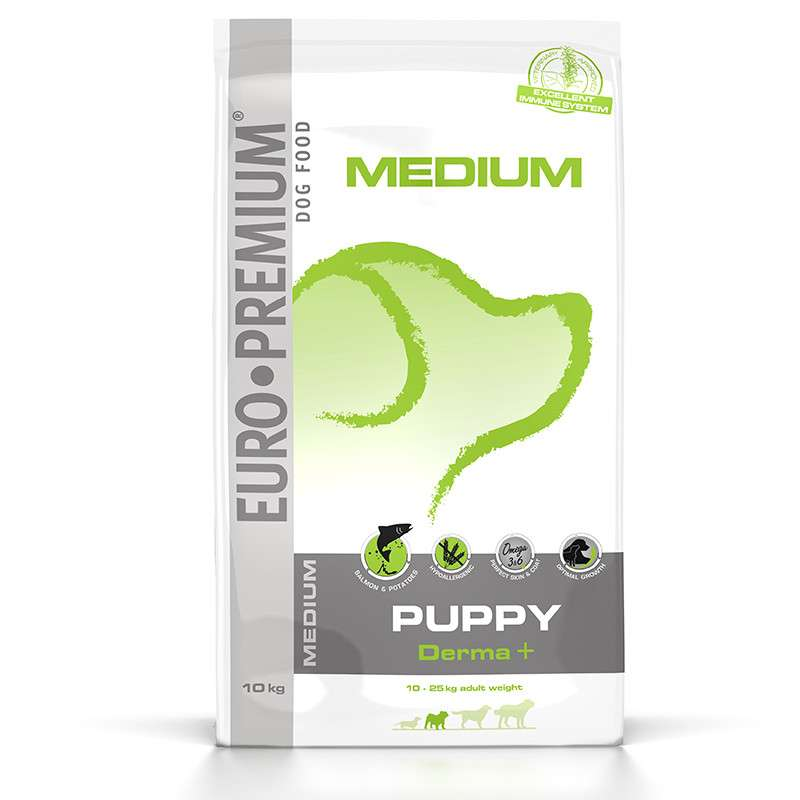 EURO-PREMIUM Medium Puppy Derma+ 10 kg, 2.5 kg test