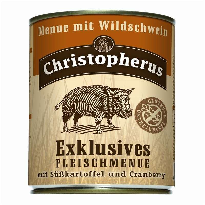 Christopherus Exclusive Meat Menu - Wild boar, Sweet potato and Cranberry Can 800 g