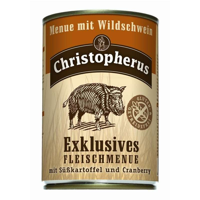 Christopherus Exclusive Meat Menu - Wild boar, Sweet potato and Cranberry Can 400 g, 800 g, 200 g kjøp billig med rabatt