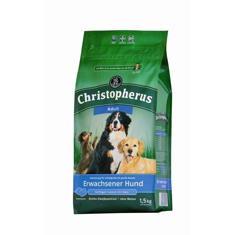 Christopherus Adult Dog – Poultry, Lamb, Eggs & Rice 1.5 kg, 12 kg, 4 kg