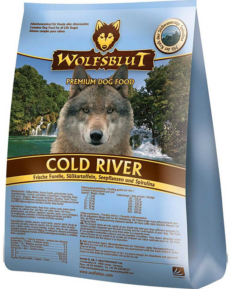 Cold River, Fresh Trout, Sweet Potatoes, See Plants and Spirulina from Wolfsblut 15 kg, 2 kg, 500 g, 7.50 kg buy online