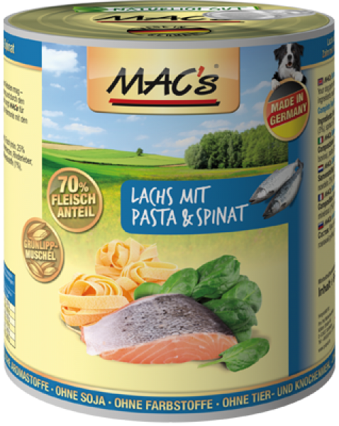 MAC's Dog - Salmon with Pasta & Spinach 800 g
