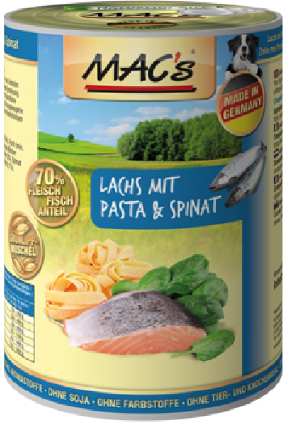 MAC's Dog - Salmon with Pasta & Spinach 800 g, 400 g, 200 g
