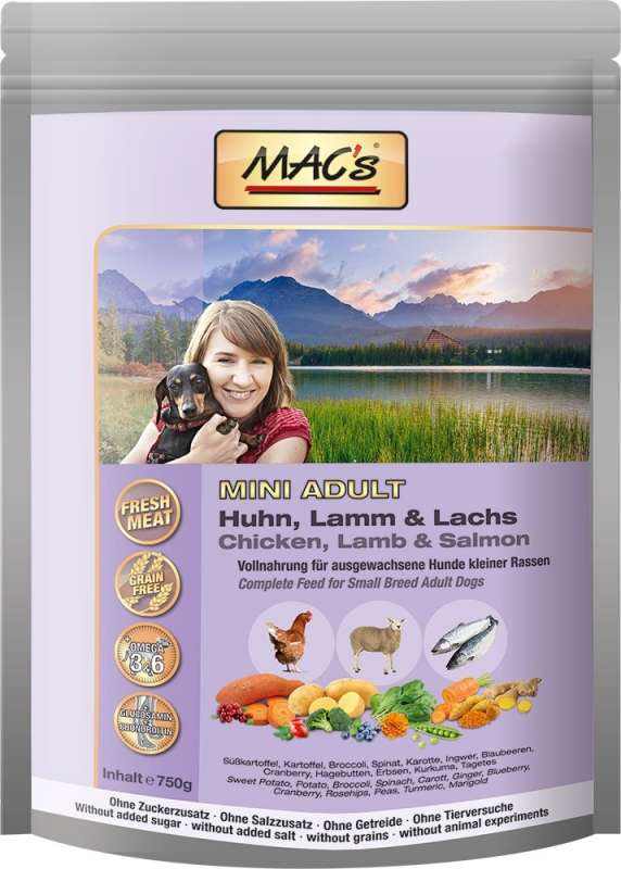 MAC's Dog - Mini Adult with Chicken, Lamb & Salmon 3 kg, 750 g