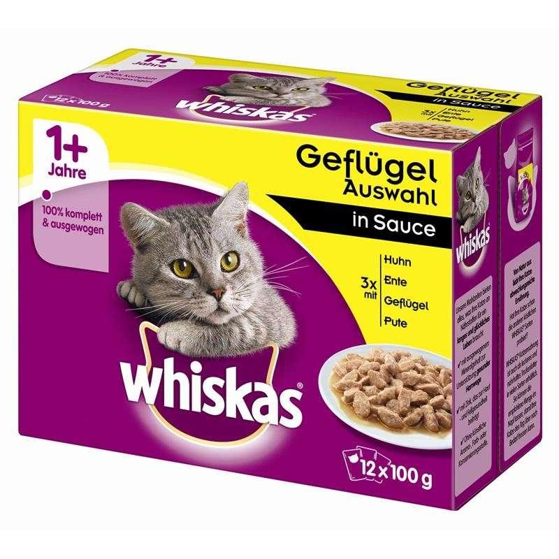 Whiskas Multipack 1+ Fjærkremeny i Saus 12x100 g 4008429010989 erfaringer