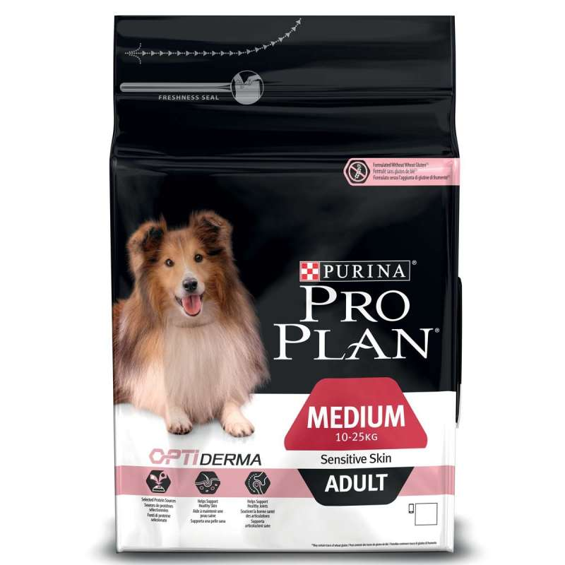Purina Pro Plan Medium Adult - Optiderma Rik på Lax 14 kg, 3 kg
