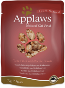 Applaws Frischebeutel Natural Cat Food Thunfischfilet und Pazifikgarnelen in Brühe 70 g