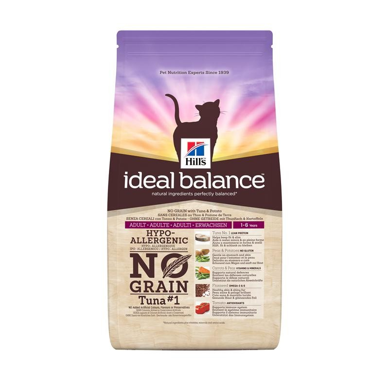 Hill's Ideal Balance Feline Adult No Grain med Tunfisk og Potet 2 kg, 300 g