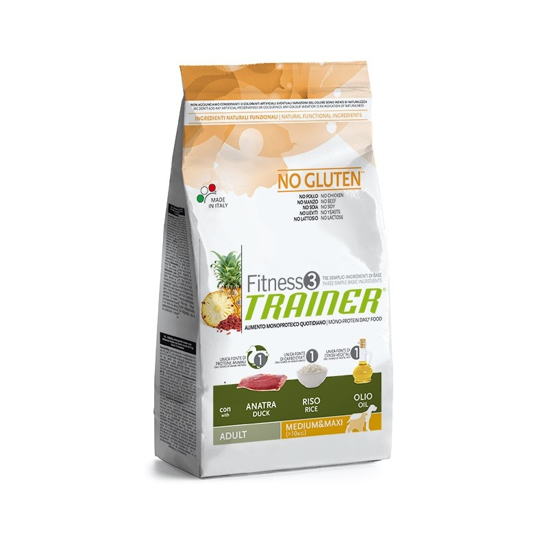 Nova Foods Fitness3 Trainer - Adult Medium/Maxi con Pato, Arroz & Aceite 12.5 kg 8059149006673 opiniones