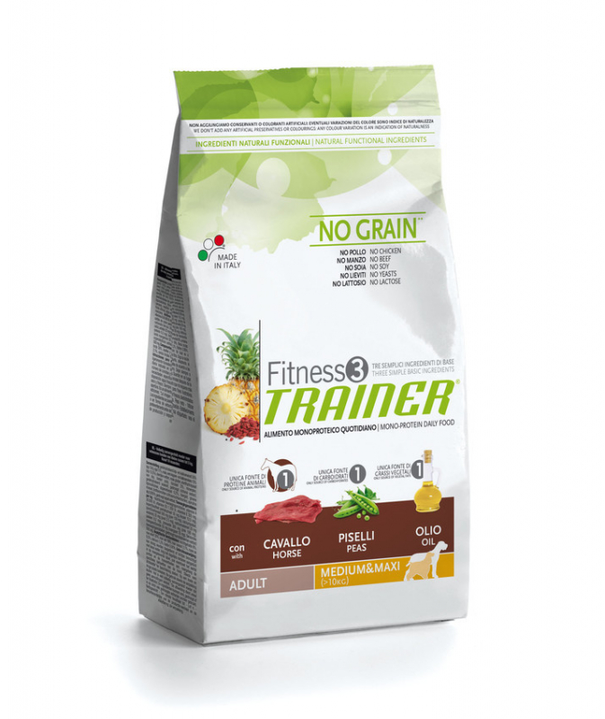 Nova Foods Fitness3 Trainer - Adult Medium / Maxi con Caballo, Guisantes & Aceite 3 kg, 12.5 kg
