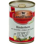 Wet dog food Landfleisch Hausmannskost Beef heart with Potato, Carrots and Zucchini Can 400 g