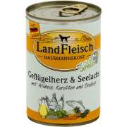 Wet dog food Landfleisch Hausmannskost Poultry hearts & Codfish with Wild rice, Carrots and Broccoli Can 400 g