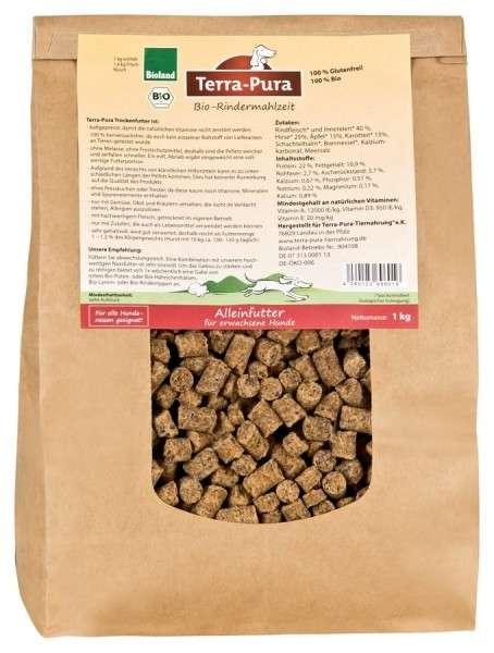 Terra Pura Bio-Rindermahlzeit Biologisch Droogvoer Rund voor Honden 1 kg, 5 kg