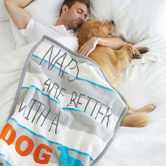 """Territory Manta """"Naps are better with a Dog""""  76x101 cm"""