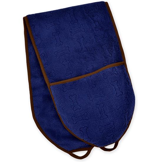 Territory Toalla para Perro Modern con Bolsillos - Turquesa Azul marino 25x76 cm