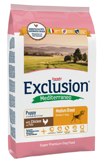 Exclusion Mediterraneo Puppy Pollo Medium Breed 12.5 kg, 3 kg prueba