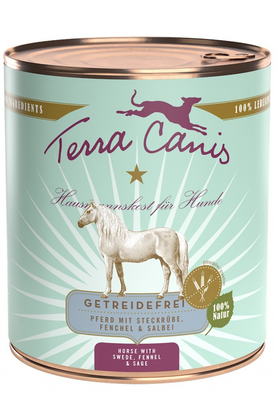 Terra Canis Grain-Free Menu, Horse Meat with Swede, Fennel and Sage 800 g
