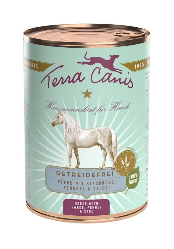 Terra Canis Grain-Free Menu, Horse Meat with Swede, Fennel and Sage 800 g, 400 g, 200 g