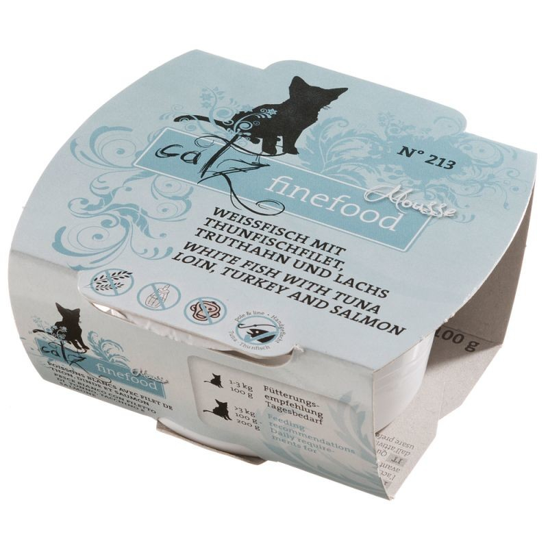 Catz Finefood Mousse No. 213 - White fish, Tuna, Turkey & Salmon 100 g 4260379442207 anmeldelser