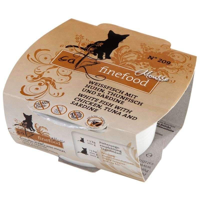 Catz Finefood Mousse No. 209 - White fish, Tuna, Chicken & Sardines 100 g