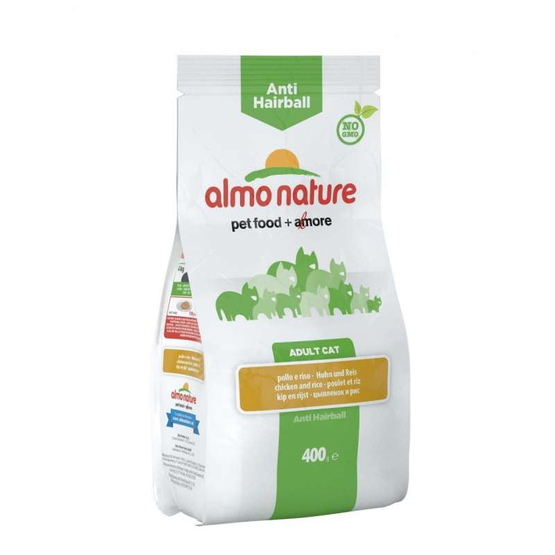Almo Nature Adult Anti Hairball Kip & Rijst 400 g 8001154125948