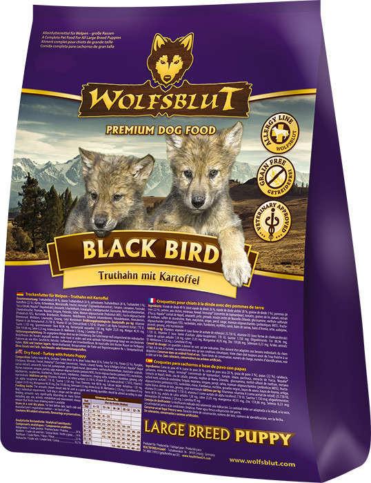 Wolfsblut Black Bird Large Breed Puppy met Kalkoen en zoete Aardappelen 15 kg, 2 kg