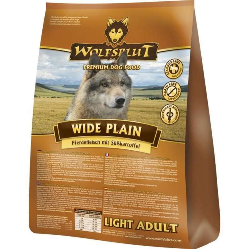 Wolfsblut Wide Plain Light Adult met Paardenvlees en zoete Aardappelen 15 kg, 2 kg, 500 g