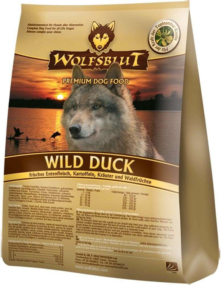 Wild Duck Adult , Fresh Duck meat, Potatoes, Greenery and Berries from Wolfsblut 7.5 kg, 500 g, 2 kg, 15 kg buy online