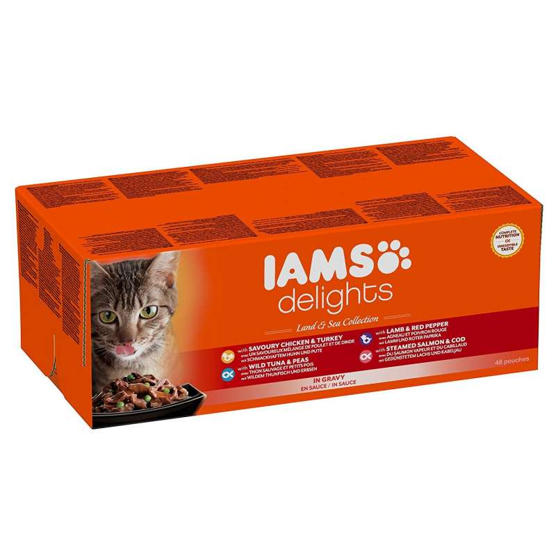 Iams Delights Land and Sea Collection for Adult Cats in Gravy 48x85 g 8710255100449