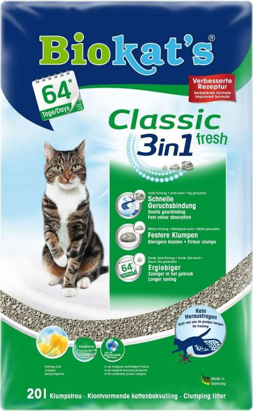 Biokat S Classic Fresh 3in1 Pe 20 L Pe Bentonite Cat Litter