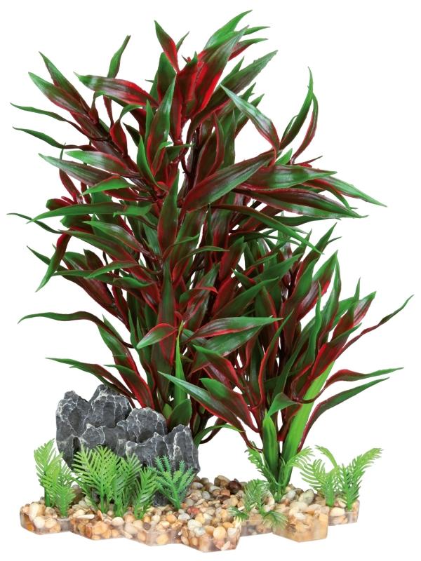 Trixie Kunststof Plant op een Bedje van Kiezelstenen  28 cm