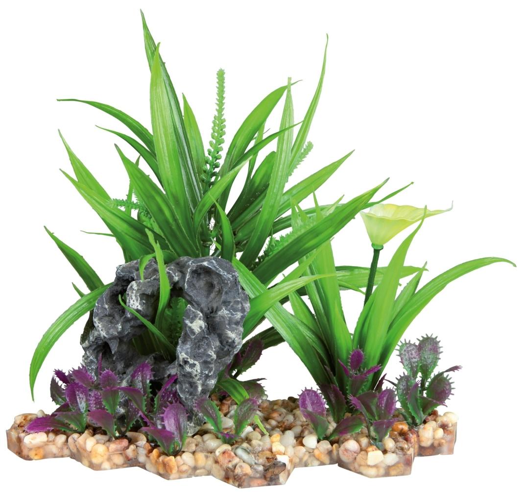 Trixie Kunststof Plant op een Bedje van Kiezelstenen  18 cm