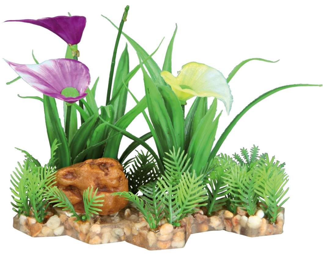 Trixie Kunststof Plant op een Bedje van Kiezelstenen 13 cm  met korting aantrekkelijk en goedkoop kopen