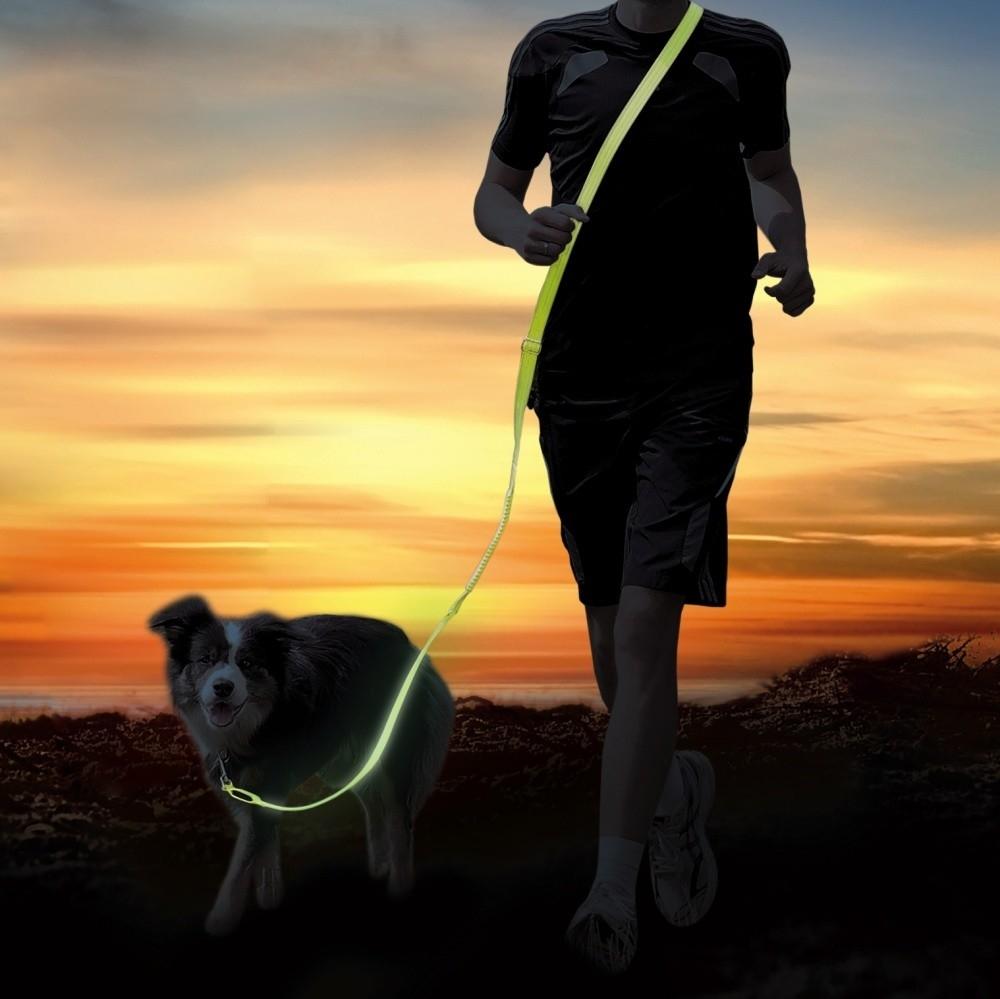 Trixie USB Flash Jogginglijn  Geel 185–255/2.5 cm
