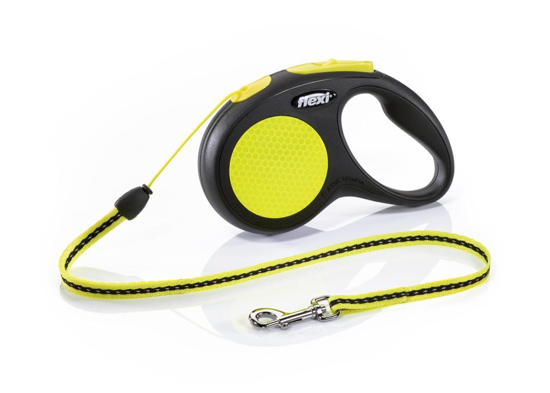 Flexi New Neon, Cuerda Enrollable, negro/neón S