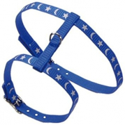 Moon and Stars - Cat harness and leash set Blauw