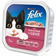Felix Comida húmeda gatos  : Bocaditos en Gelatina con Pato y Carne de Vacuno 100g compra barato