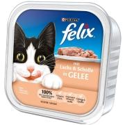 Bocaditos en Gelatina con Salmón y Solla 100g Comida en lata para gatos   de Felix. ¡Ahorra hasta un 80% ahora!