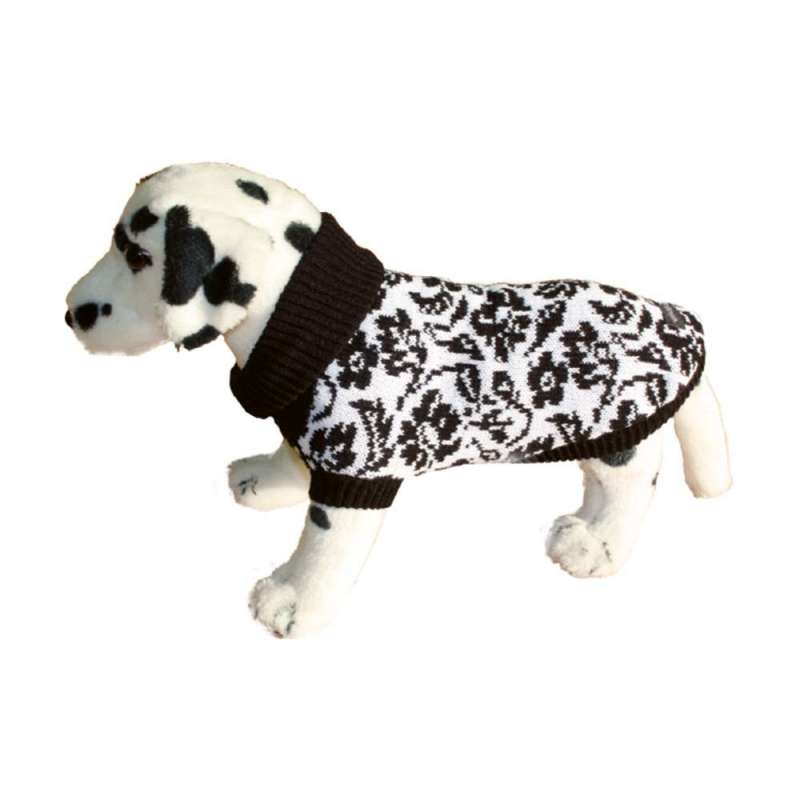 Amiplay Dog Sweater - Black Flowers Pink Stripes