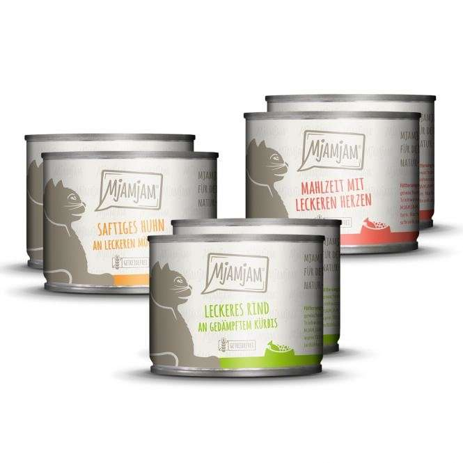 MjAMjAM Mixpaket I Huhn, Rind, Herzen 6x800 g, 6x400 g, 6x200 g, 12x125 g Test
