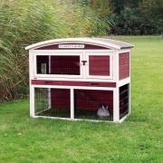 Kleintierstall mit Freilaufgehege, zweistöckig, Rot/Weiß 124×104×75 cm