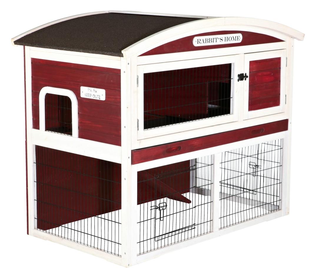 Trixie Kleintierstall mit Freilaufgehege, zweistöckig  Rot 124×104×75 cm